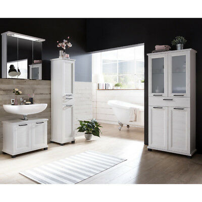 badm bel badezimmer set wei pinie shabby chic spiegelschrank hochschrank cancun eur 274 99. Black Bedroom Furniture Sets. Home Design Ideas