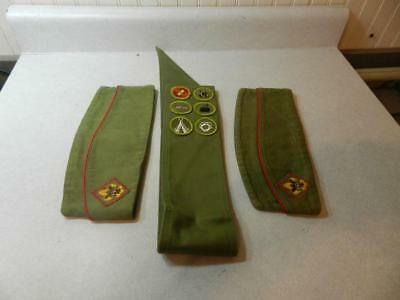 "LOT Boy Scout 29"" Sash & 2 Garrison Hats Medium Official Sanforized 6-3/4-6-7/8"