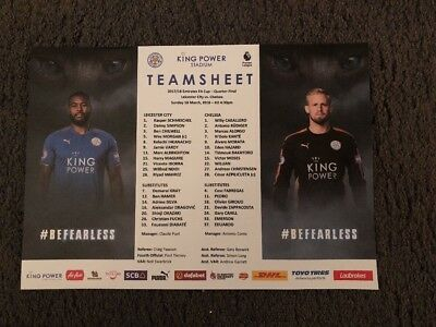 18/3/2018.FA CUP .LEICESTER CITY v CHELSEA.TEAMSHEET.MINT.OFFICIAL