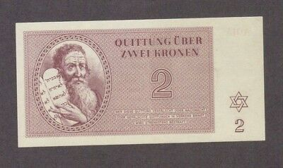 1943 2 Kronen Theresienstadt Concentration Camp Gem Unc Banknote Bill Note Wwii