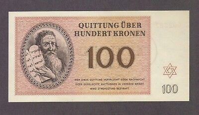 1943 100 Kronen Theresienstadt Concentration Camp Gem Unc Banknote Bill Note Ww2