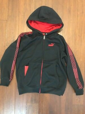 Boys Puma Zip Up Hooded Sweatshirt Size Small Size 8 EUC Black And Red