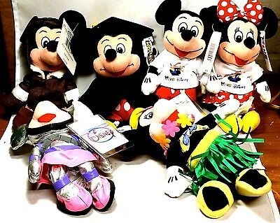 Disney, Mickey And Minnie Mouse Beanie Babys Lot. 6, New with tags.