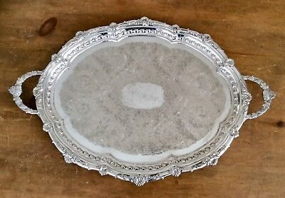 """English Art Nouveau 25"""" Silver Plated Butler Serving Tray By FALSTAFF  C1920"""