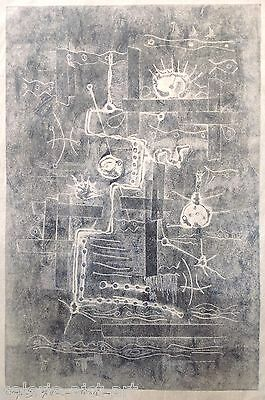 Charles WAD (1918-1987) Lithographie Signée 1960 Abstrait 65x45cm KLEE Paul