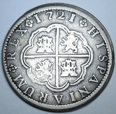 1721 Spanish 2 Reales Coin Silver Piece Of 8 Two Real Pirate Shipwreck Treasure?