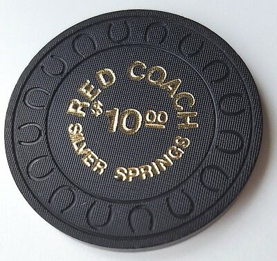$10 Silver Springs Red Coach Casino Chip