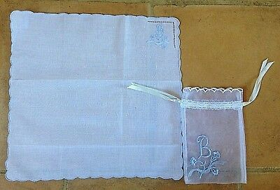 """Brand New Pretty Monogramed Hankerchief ! Embroidered """" B """" ! In A Lace Bag !"""