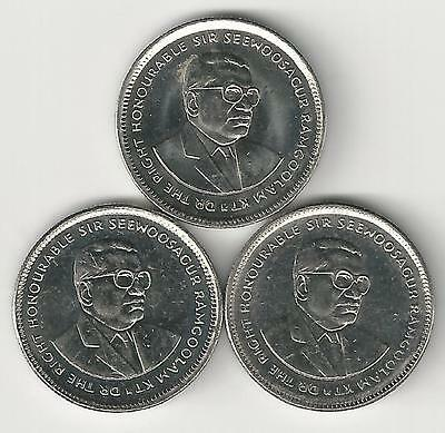 3 DIFFERENT 20 CENT COINS from MAURITIUS (2007, 2010 & 2012)