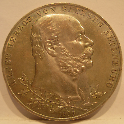 Germany Saxe - Altenburg 1903 A Silver 5 Mark UNC Ernst's 50th Year of Reign