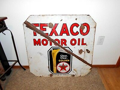 "Original 1930s ""Black T"" Texaco Motor Oil Double Sided Porcelain Sign 30"" x 30"""