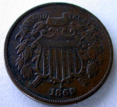 1869 Copper 2 Two Cent piece Civil War Coin