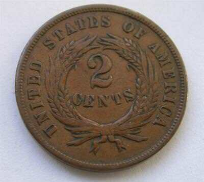 1865 Copper 2 Two Cent piece Civil War Coin