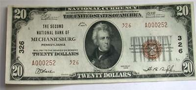 1929 series $20 Twenty Dollar National Bank MECHANICSBURG PA Currency Note Bill