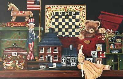 """Original Oil Painting Of Toys & Games On Child's Shelf On Canvas Signed 18"""""""
