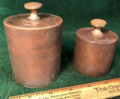 (2) Large Antique Silver / Gold Heavy Brass Scale Weights 100 & 50 Troy Ounces