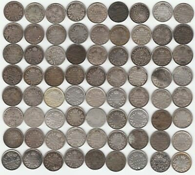1800's To 1900's ❀ 72 Coin Mega Lot ❀ Imperfect Canada Silver Low Grade 5 Cents