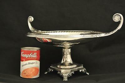 Wmf Germany European Silver Plate Footed Greek Key Tall Centerpiece Bowl Tray