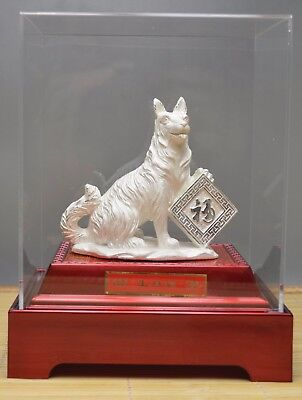 390 Gram Purity 999 Fine Silver Solid Hand Made Dog Statue In Box