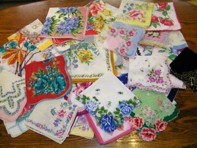 Lot of 51 Vintage Cutter/Craft FLORAL Handkerchiefs w/FLAWS~Clean & Ready to Use
