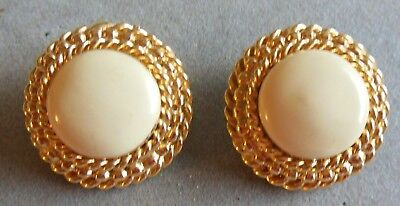 St John Collection Designer Jewelry Earrings Clip-On Vintage Gold Tone Ivory