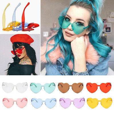 Women Love Heart Shape Lens Stylish Eyewear Cooling Frame Sunglasses Eyeglasses