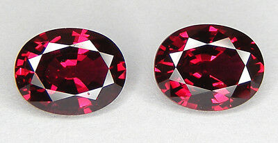 2 PCS./PAIRE TOP QUALITE T. OVALE 9x7 MM. RUBIS SANG DE PIGEON DE SYNTHESE