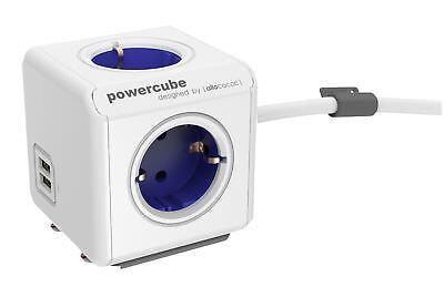 Mehrfachsteckdose allocacoc PowerCube Extended USB inkl. 1,5 m Kabel blau Type F