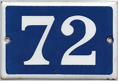Old blue French house number 72 door gate plate plaque enamel steel metal sign