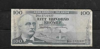 ICELAND #44a 1961 100 KRONUR GOOD CIRC OLD BANKNOTE PAPER MONEY CURRENCY  NOTE