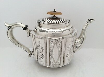 Fine Quality Antique Sterling Silver Plated Teapot By Daniel & Arter Birm. C1890