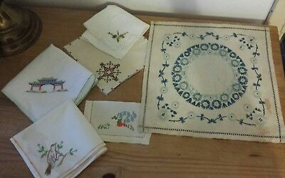 Collection of 6 Vintage Hand Embroidered pieces . .. napkin, samples
