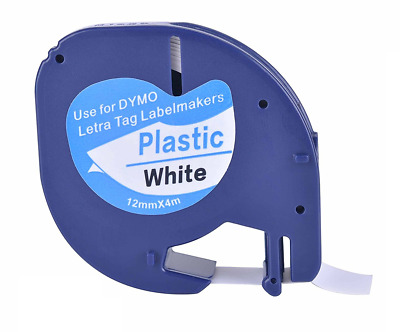 Compatible Dymo LETRATAG black on white plastic label tape 12mmx4m tape (91201)