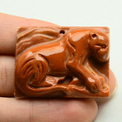 Carved Panther Natural Red Malachite Gemstone Pendant Bead 35X26X9Mm