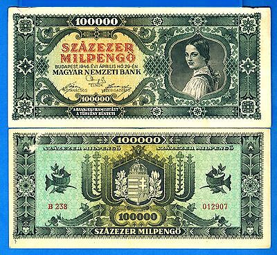 Hungary P-127 100,000 Milpengo Year 1946 Circulated Banknote Europe