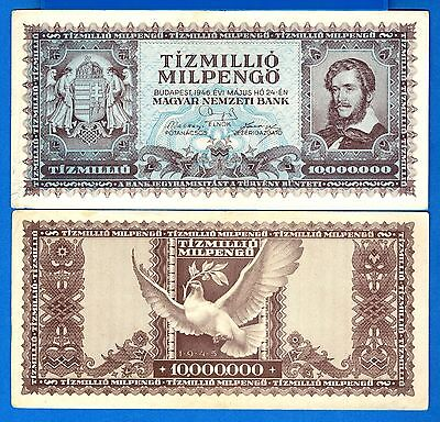 Hungary P-129 10 Million Milpengo Year 1946 Circulated Banknote Europe