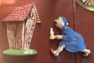 Vintage Arnels Ceramic Wall Plaques Man With Light Going To Outhouse 1950's