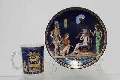 2 Pc Hallmarked By Osiris Porcelain Cleopatra Meets Antony Plate & Cup Lot (350)