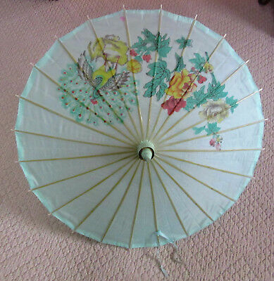 Lovely Vintage Asian Silk Parasol, Painted w. a Peacock and Roses, Estate Find!