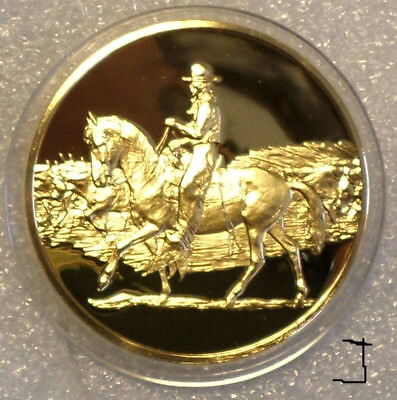 "24K Gold Bronze Medal Cowboy ""The Trail Driver"" Cattle Edward Borein Painting"