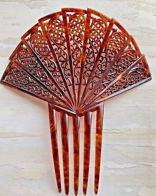 Large Antique Victorian Faux Tortoiseshell Hair Comb ~ Carved Detailed Motif
