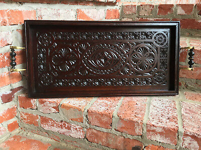 Antique English Dark Oak Serving Tray Coffee Tea Table Frisian Chip Carved