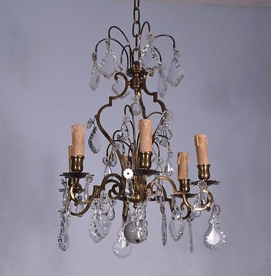 French Antique Bronze & Crystal Chandelier or Hanging Lamp