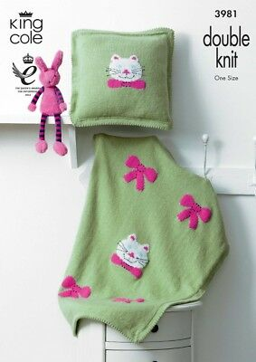 King Cole Home Picture Blanket /& Cushion Comfort Knitting Pattern 3980 D...