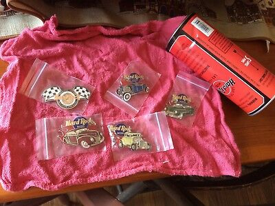 Hard Rock Cafe PINS 1997 LE 2nd Hot Rod &custom Car Show 5 Pins Never Opened