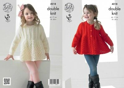 King Cole 4877 Knitting Pattern Sweater Cardigan Bootees Smarty /& Big Value DK