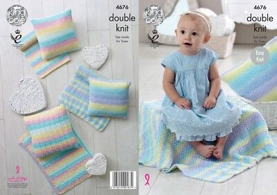 King Cole Baby Blankets & Cushions Melody Knitting Pattern 4676 DK (KCP-...