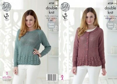 King Cole Ladies Sweater /& Top Glitz Knitting Pattern 4760 DK KCP-4760