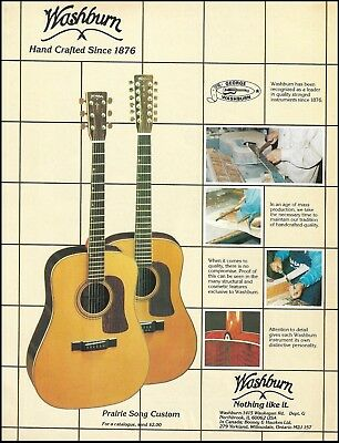 Washburn Prairie Song Custom Series acoustic guitar ad 8 x 11 advertisement