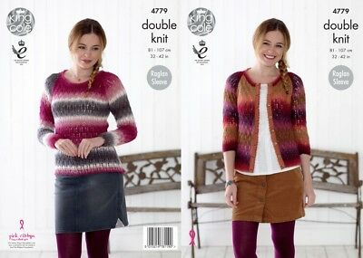 e46e80382 KING COLE 4779 Knitting Pattern Womens Raglan Sweater and Cardigan ...